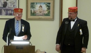 """Venerable Master, Keith Head introducing Past Venerable Master John Metcalf, who rather light-heartedly honored Albert """"Al"""" Schmidt for his years of service to Scottish Rite"""
